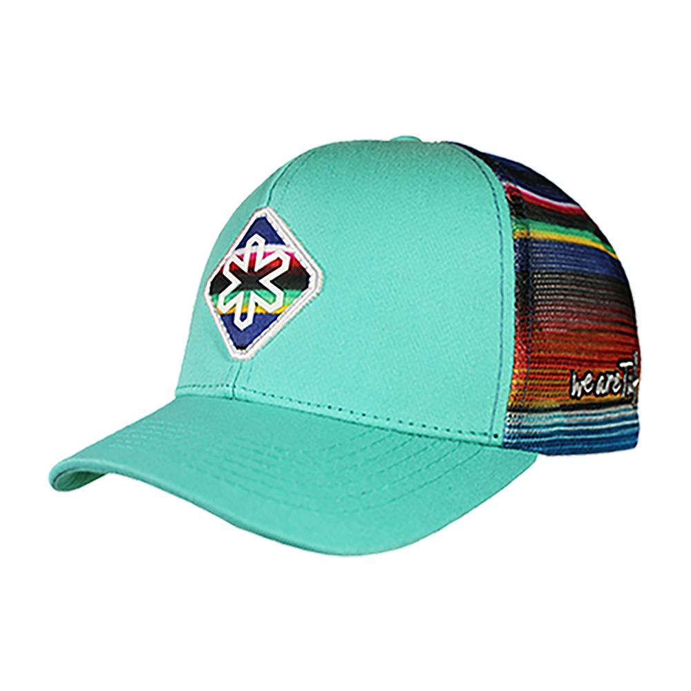 Boné Asteca Azul com Bordado e Tela colorida