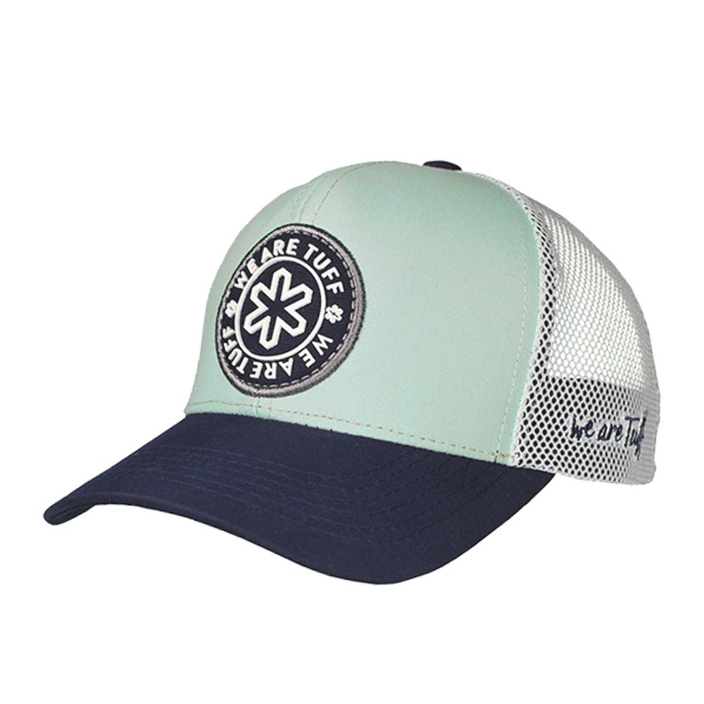 Boné Dallas Cinza e Branco com Logo Azul Marinho