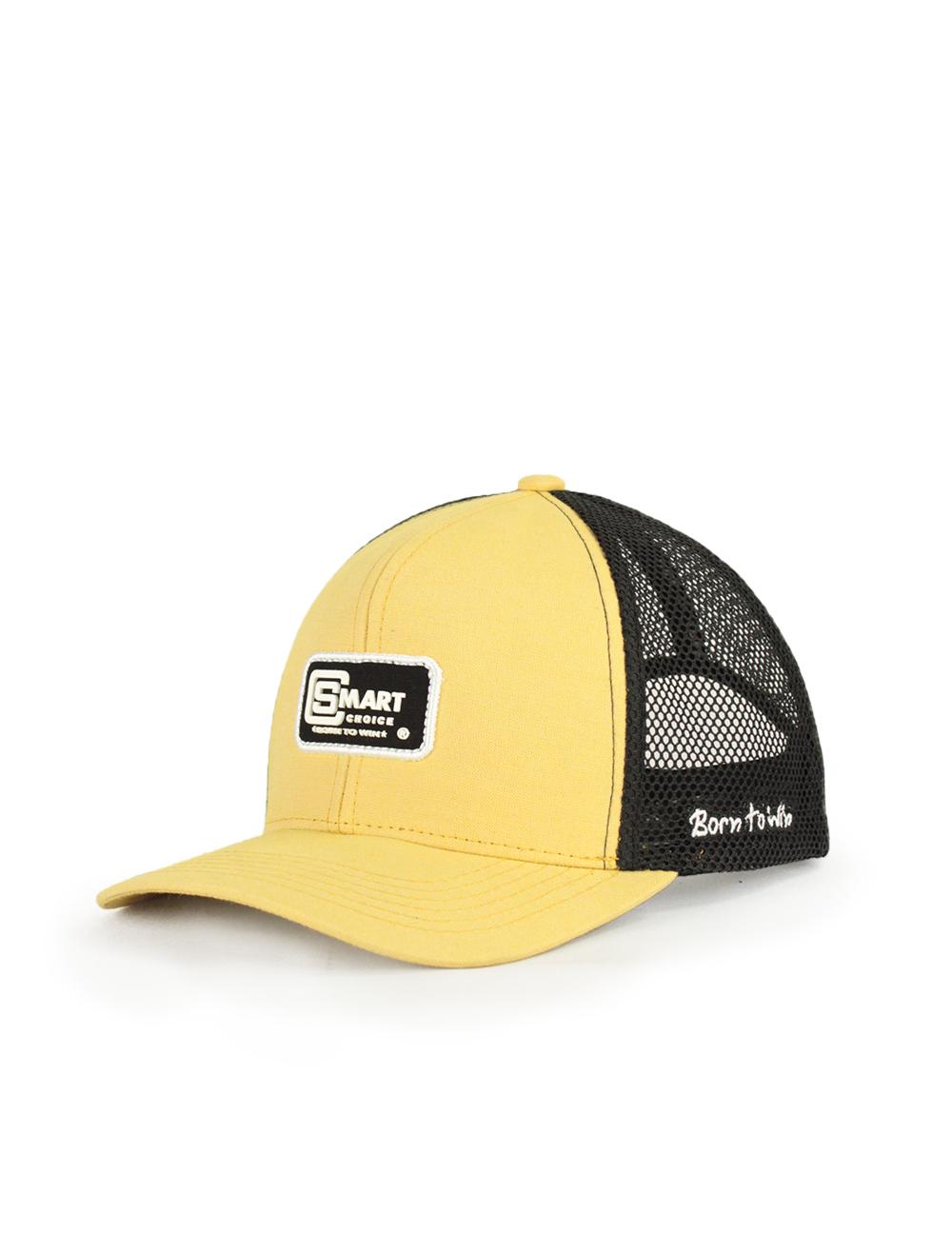 Boné Smart Amarelo e Preto com Bordado Branco