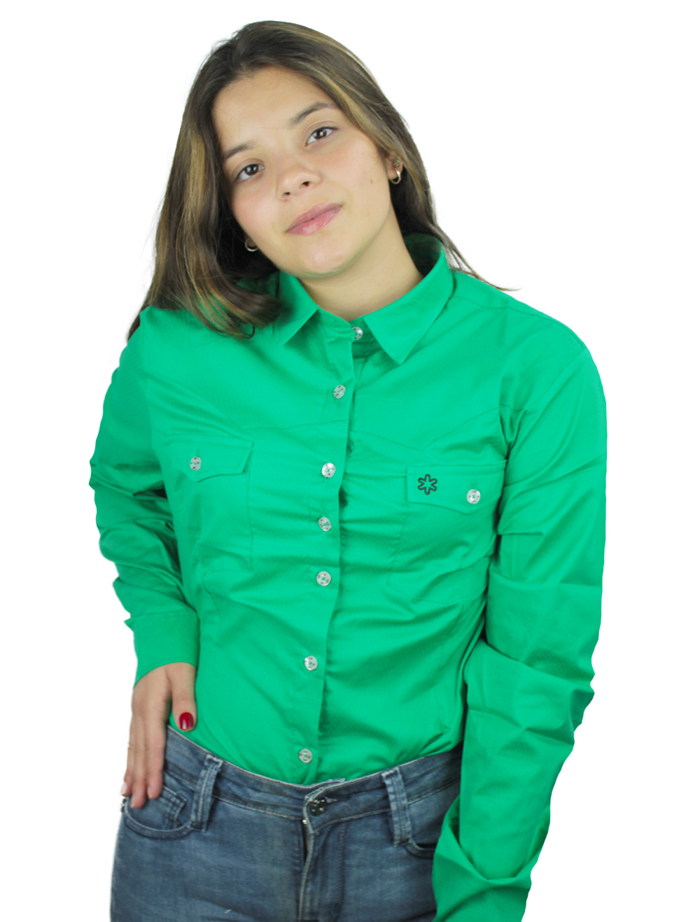 Camisa Feminina Manga Longa Lisa Verde Bandeira Bordado Preto