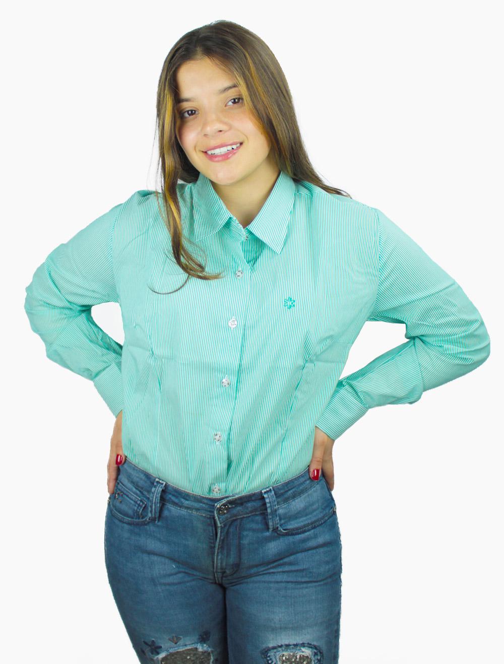 Camisa Feminina Manga Longa Listrada Verde