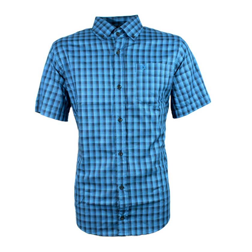 Camisa Masculina Manga Curta Micro Xadrez Azul Royal