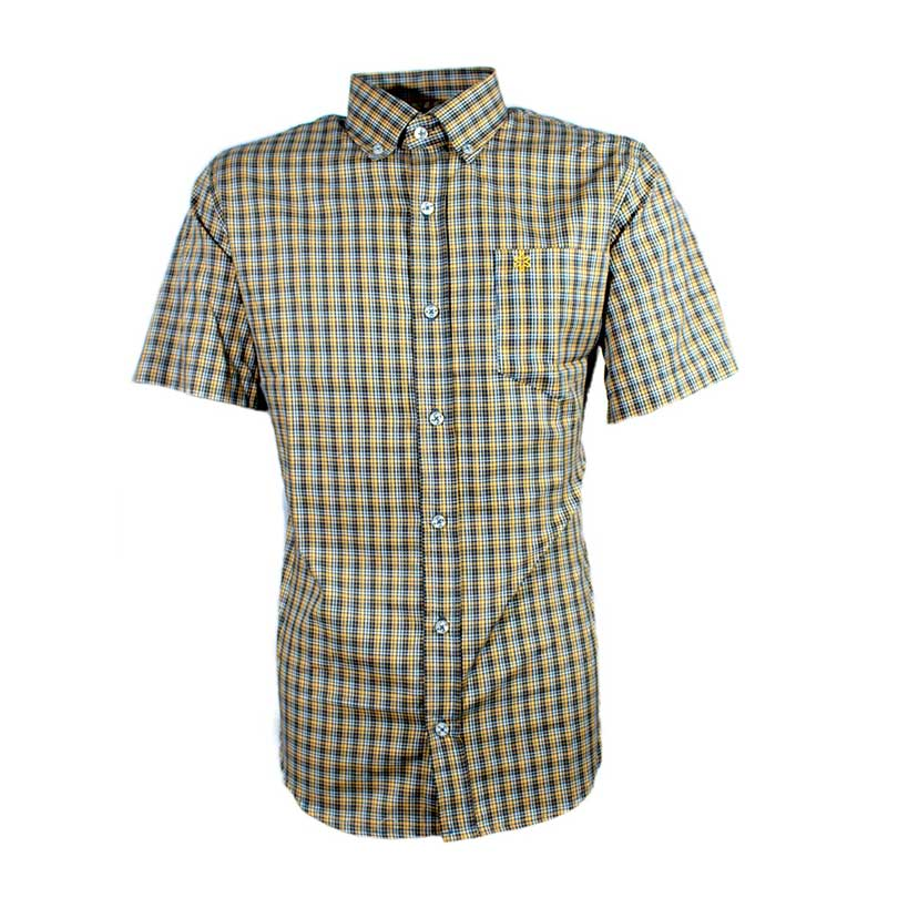 Camisa Masculina Manga Curta Micro Xadrez Laranja