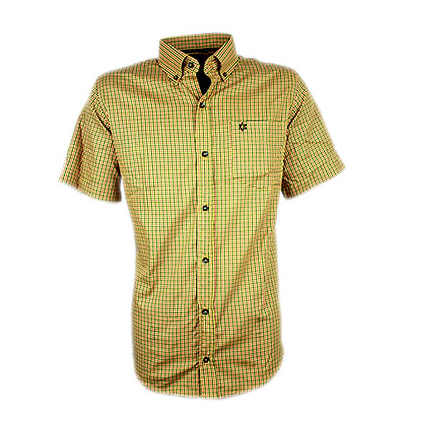 Camisa Masculina Manga Curta Xadrez Amarela e Vermelho