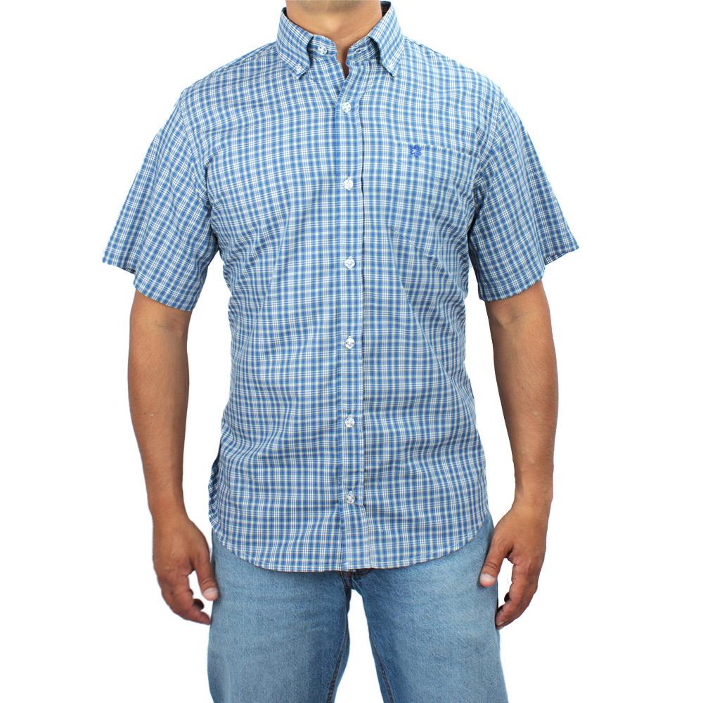 Camisa Masculina Manga Curta Xadrez Azul com Bordado Azul