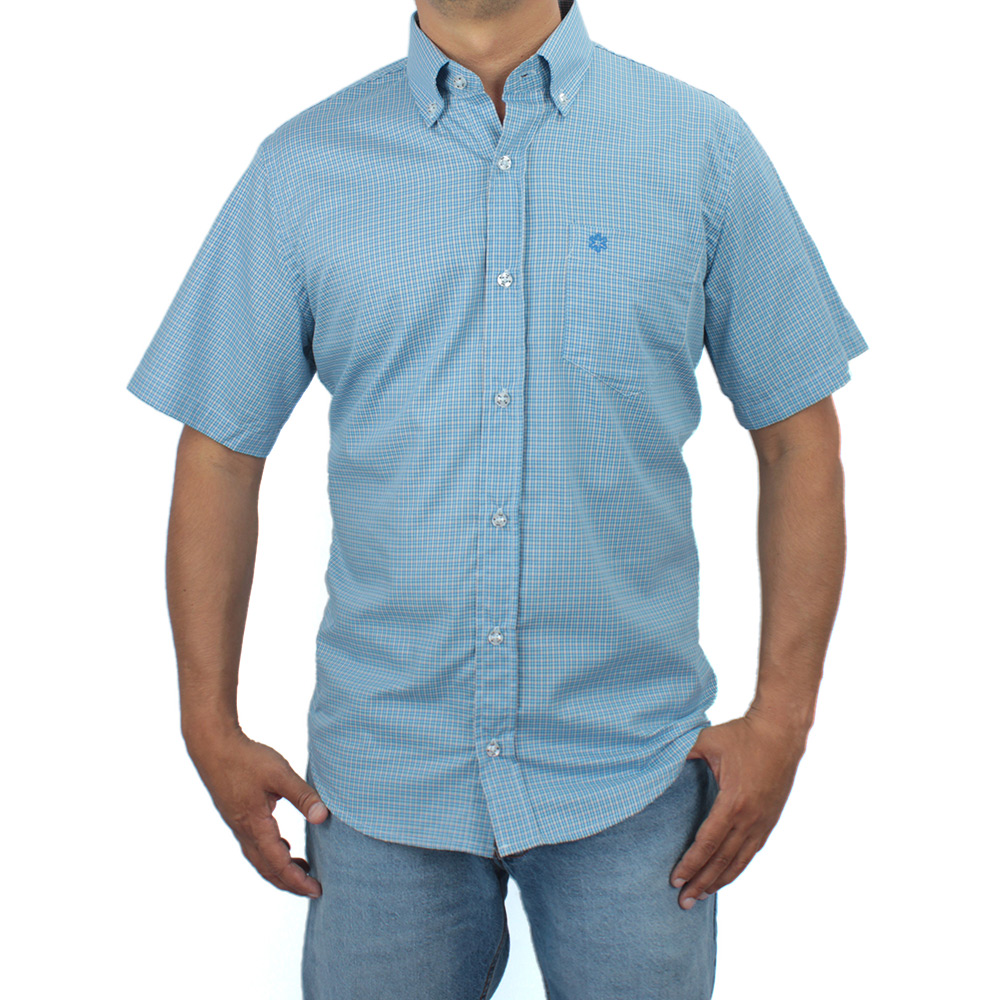 Camisa Masculina Manga Curta Xadrez Azul com Bordado Azul Royal