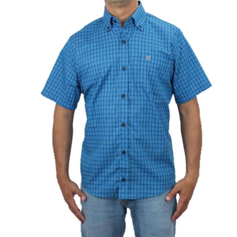Camisa Masculina Manga Curta Xadrez Azul com Bordado Bege