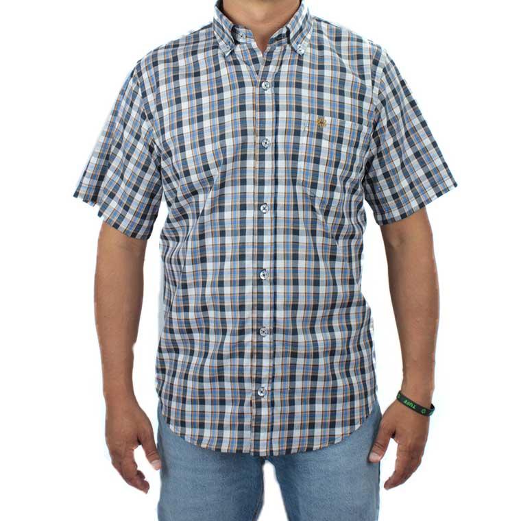 Camisa Masculina Manga Curta Xadrez Azul com Bordado Mostarda