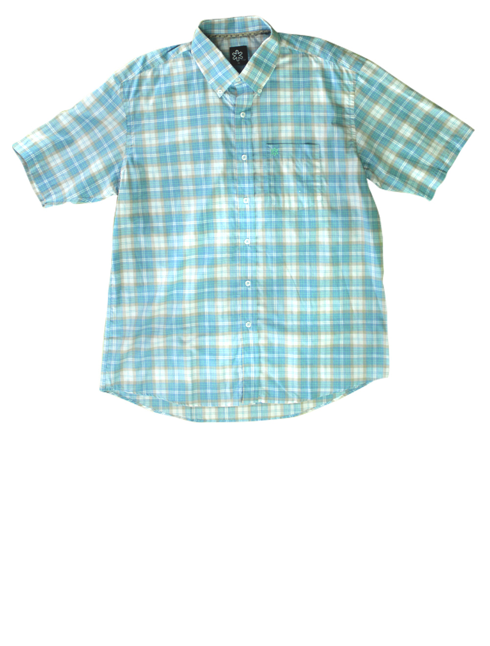 Camisa Masculina Manga Curta Xadrez Azul e Bege