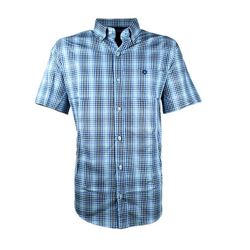 Camisa Masculina Manga Curta Xadrez Marinho e Branco