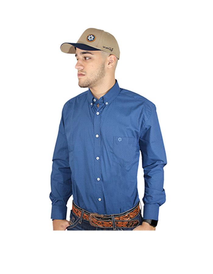Camisa Masculina Manga Longa Azul Estampa Azul Claro Bordado Azul