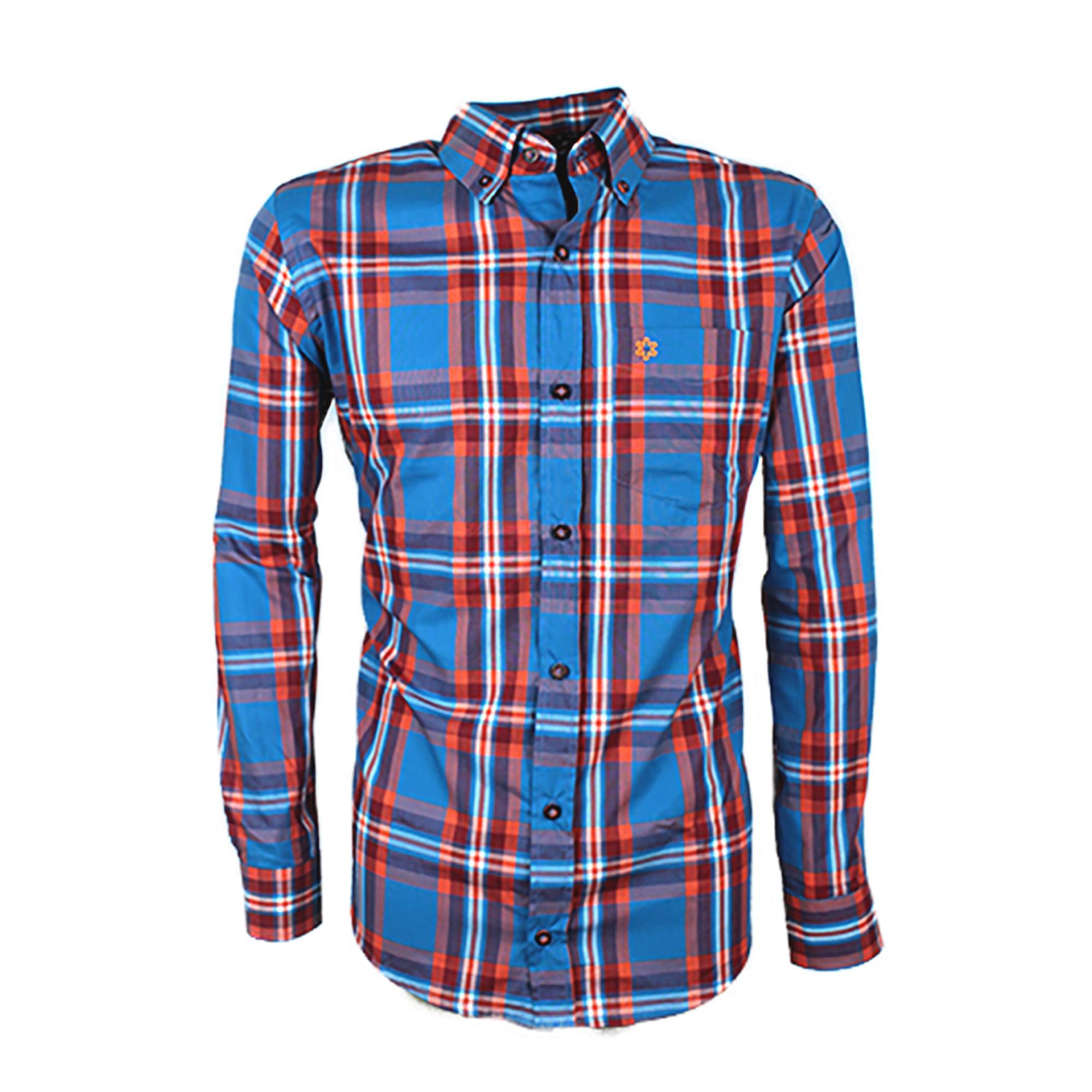Camisa Masculina Manga Longa Xadrez Azul e Laranja Bordado laranja Neon