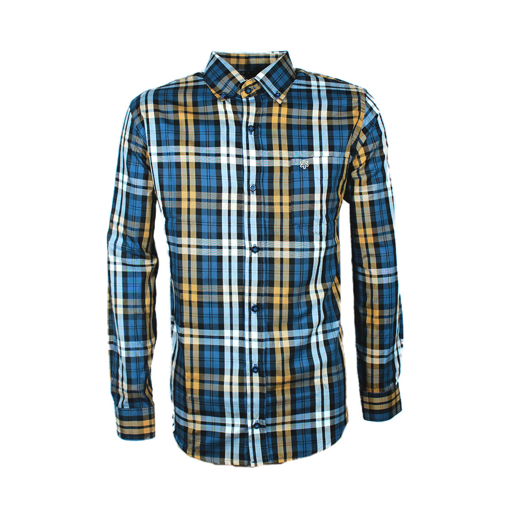 Camisa Masculina Manga Longa Xadrez Azul e Marrom
