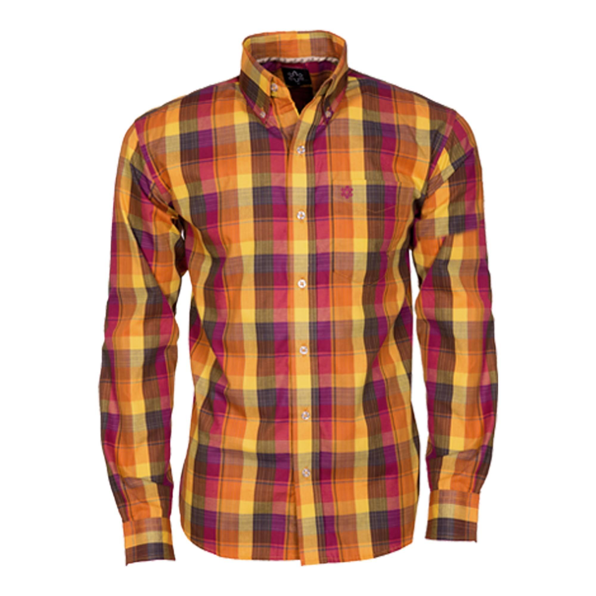 Camisa Masculina Manga Longa Xadrez Laranja e Amarelo