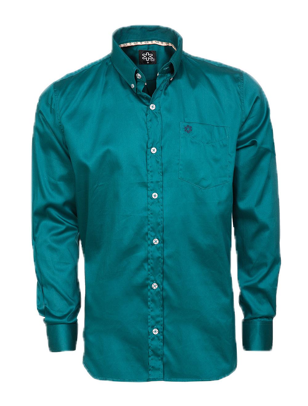 Camisa Masculina Verde Escuro Bordado Azul