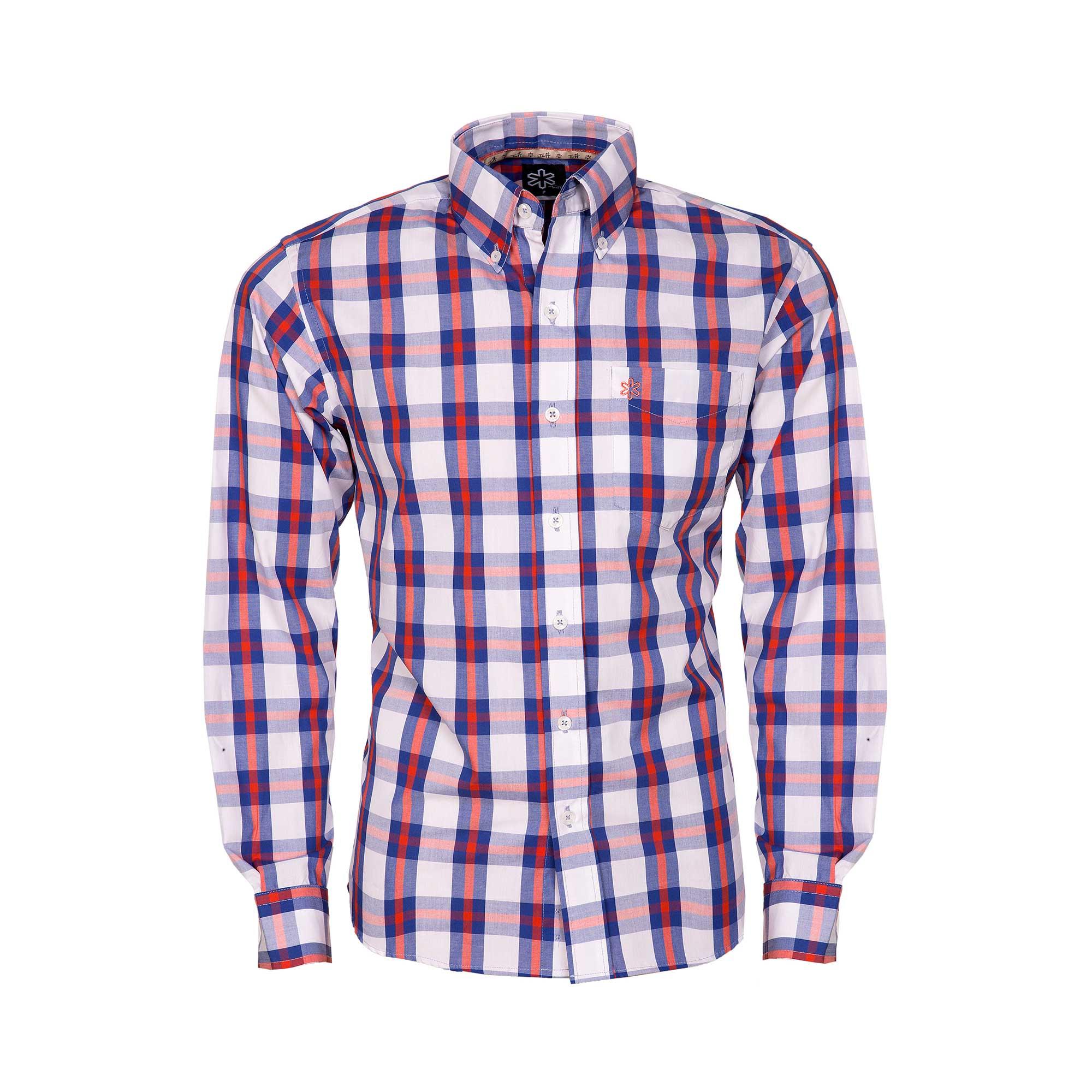 Camisa Masculina Manga Longa Xadrez Branco e Vermelho