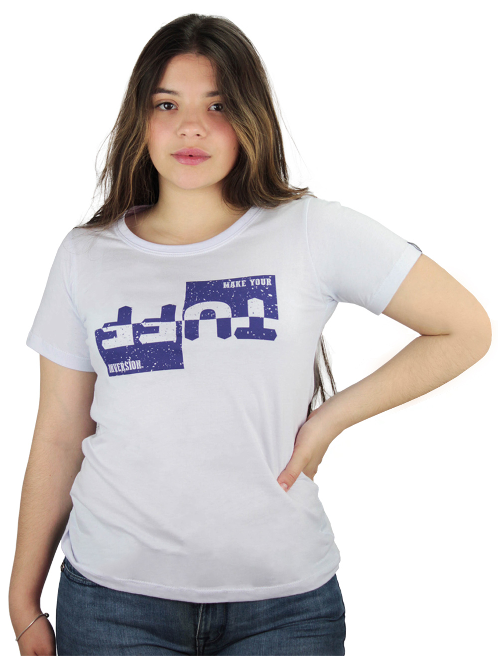 Camiseta Feminina Branca Silk TUFF Roxo