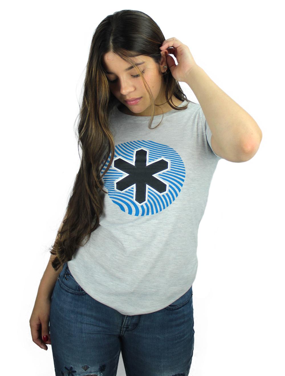 Camiseta Feminina Mescla Logo Azul e Preto