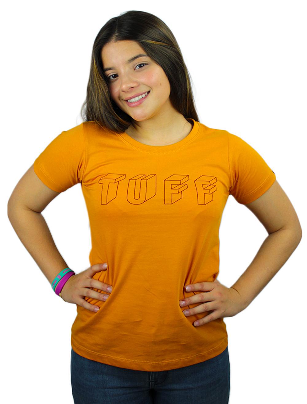 Camiseta Feminina Mostarda com Silk Bordô