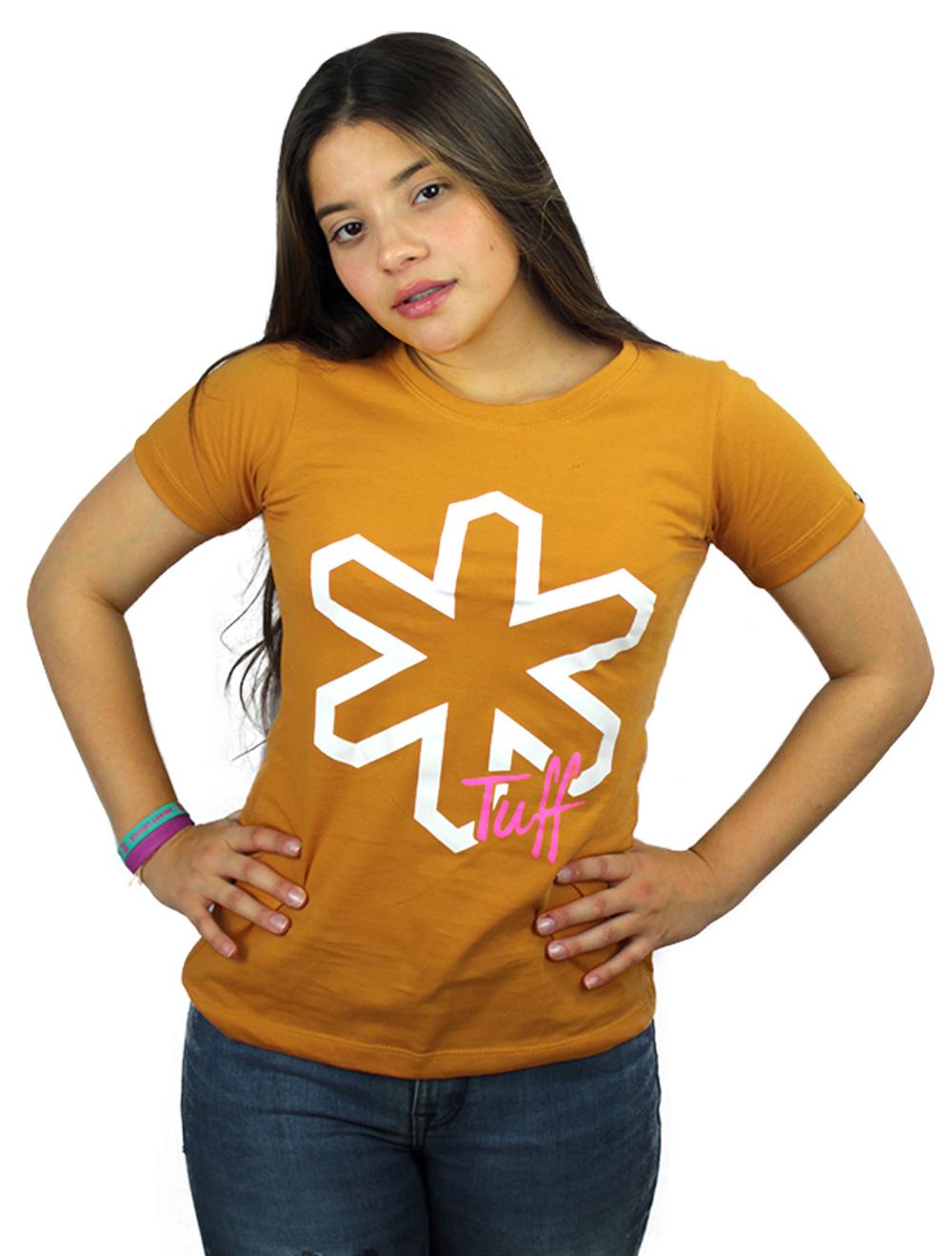 Camiseta Feminina Mostarda com Silk Branco
