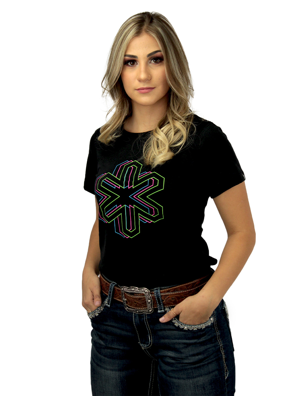 Camiseta Feminina Preta com Silk Colorido