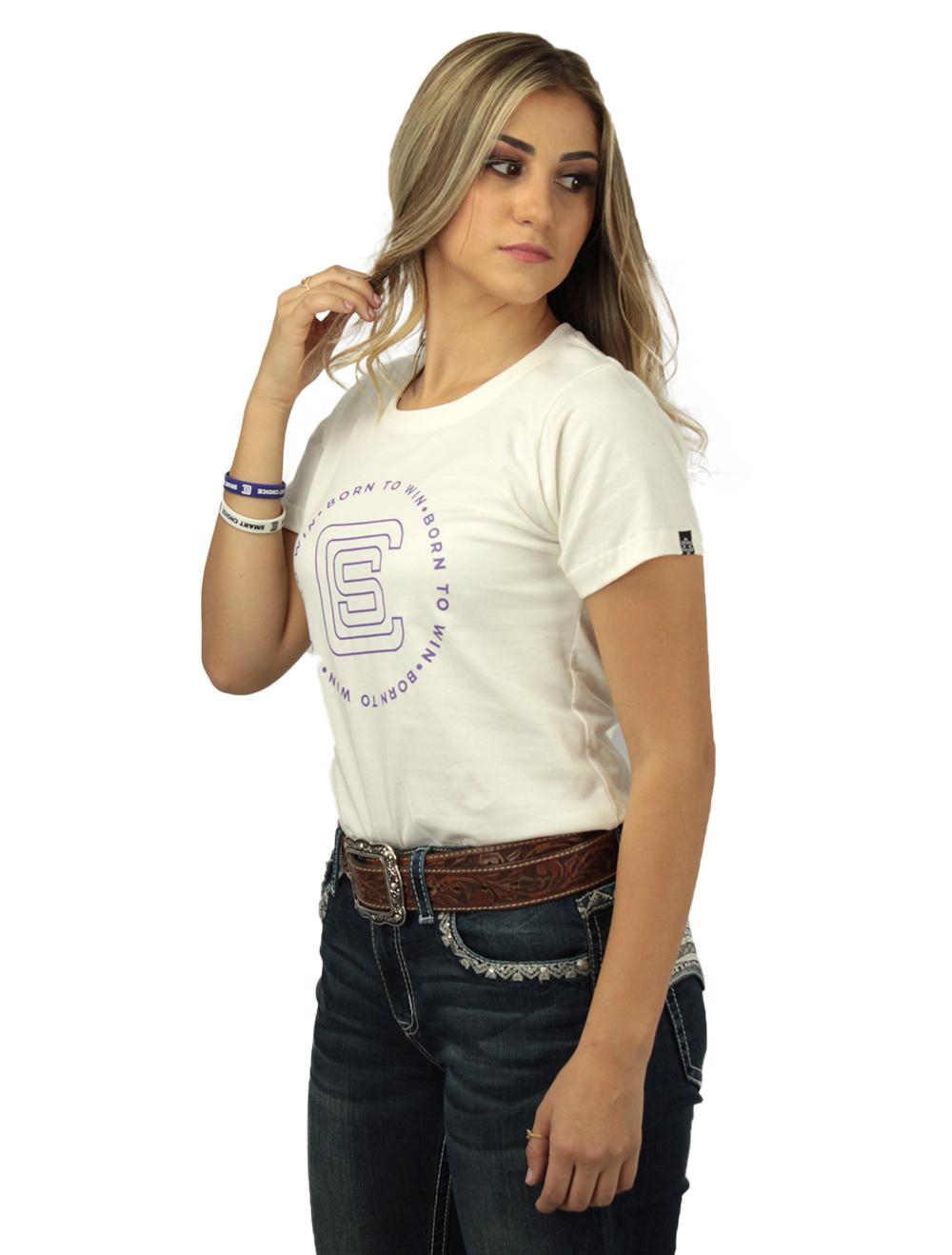 Camiseta Feminina Smart Off White Silk Roxo