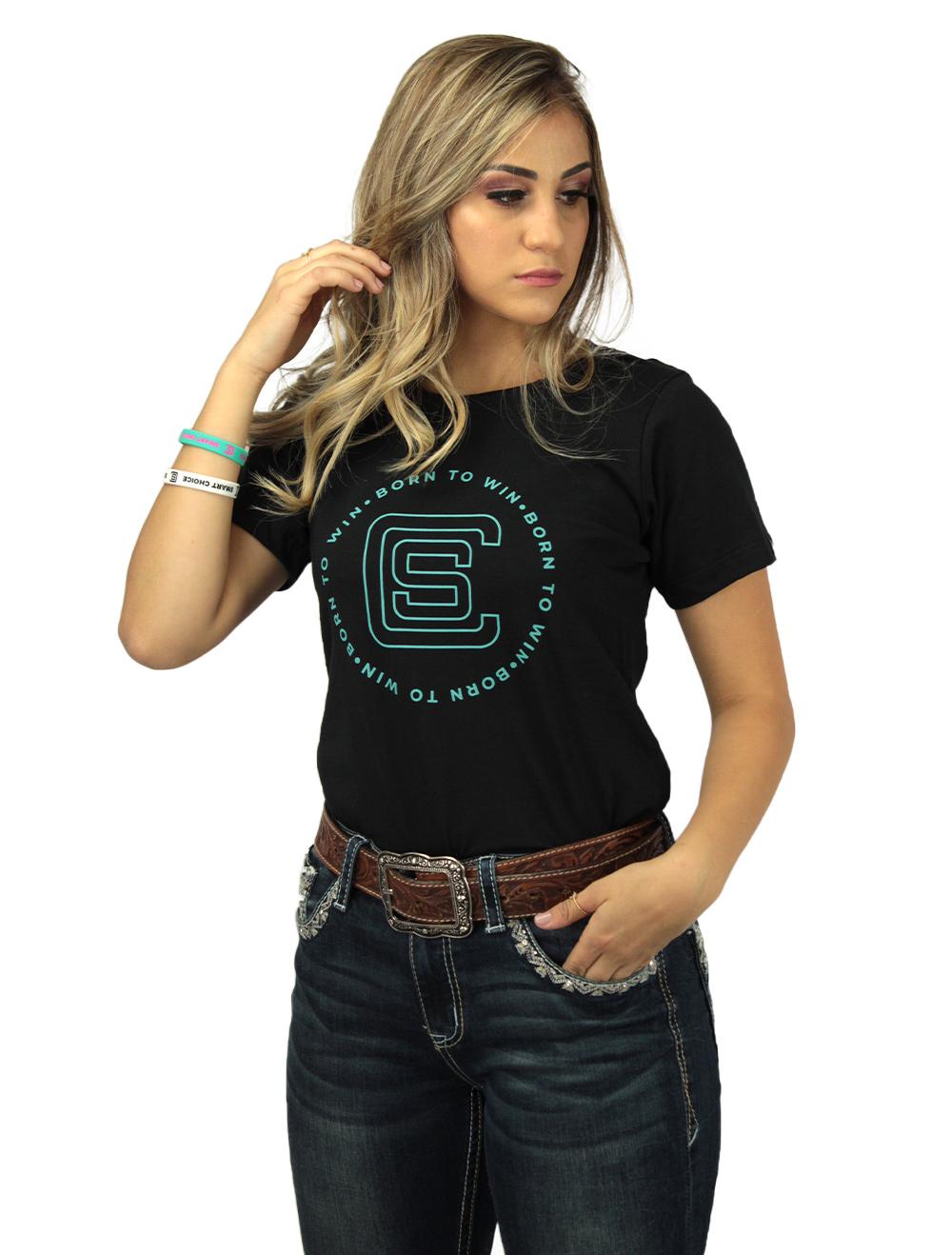 Camiseta Feminina Smart Preta com Silk Turquesa