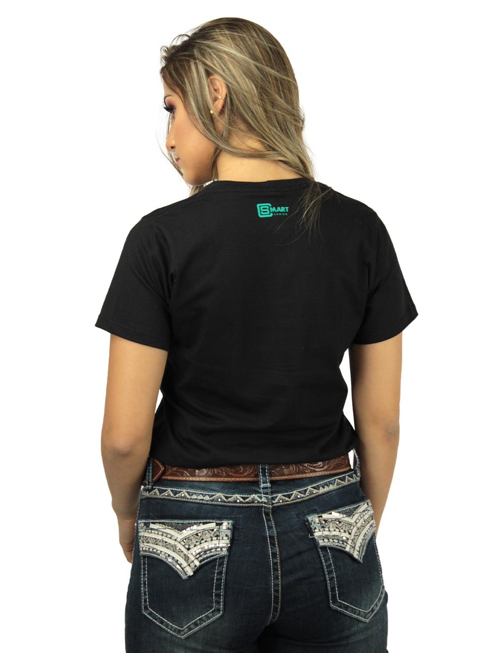 Camiseta Feminina Smart Preta Silk Turquesa