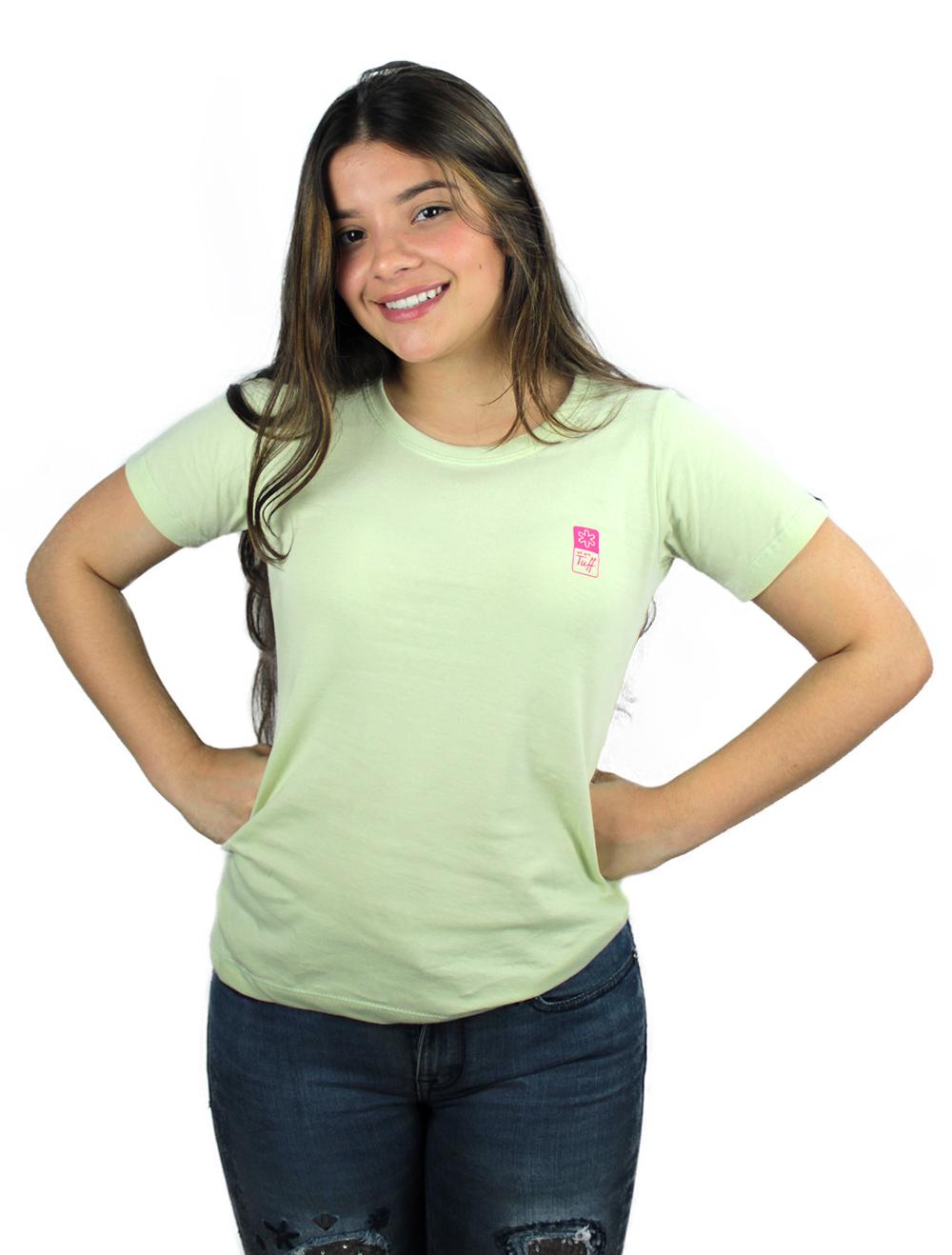 Camiseta Feminina Verde Silk Rosa