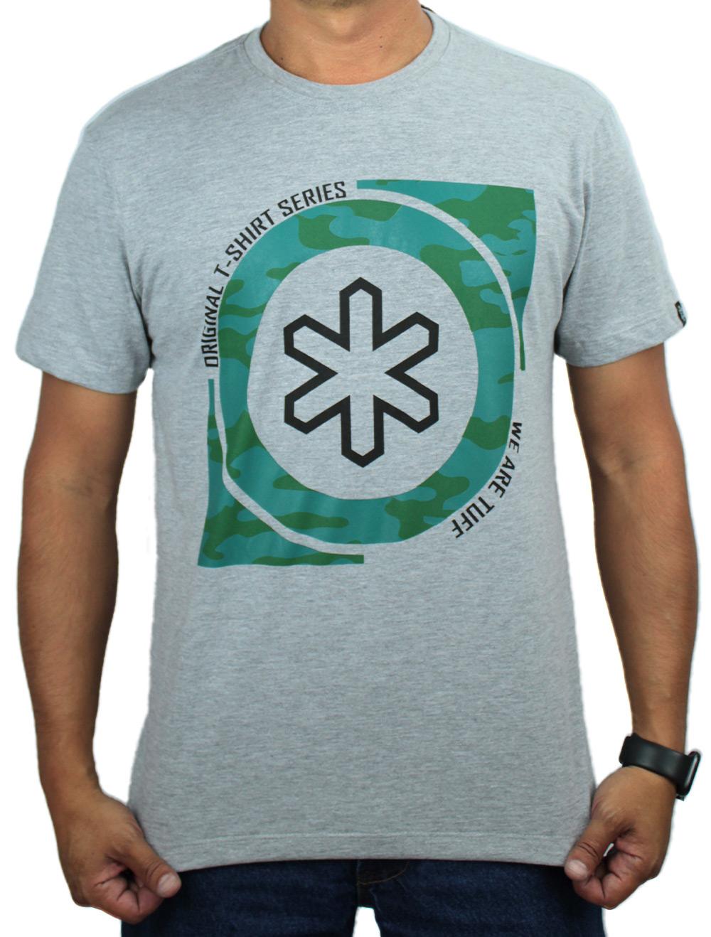 Camiseta Masculina Mescla Cinza Silk Camuflado
