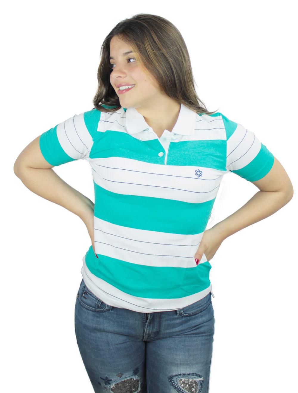 Polo Feminina Listrada Branca e Verde com Bordado Azul