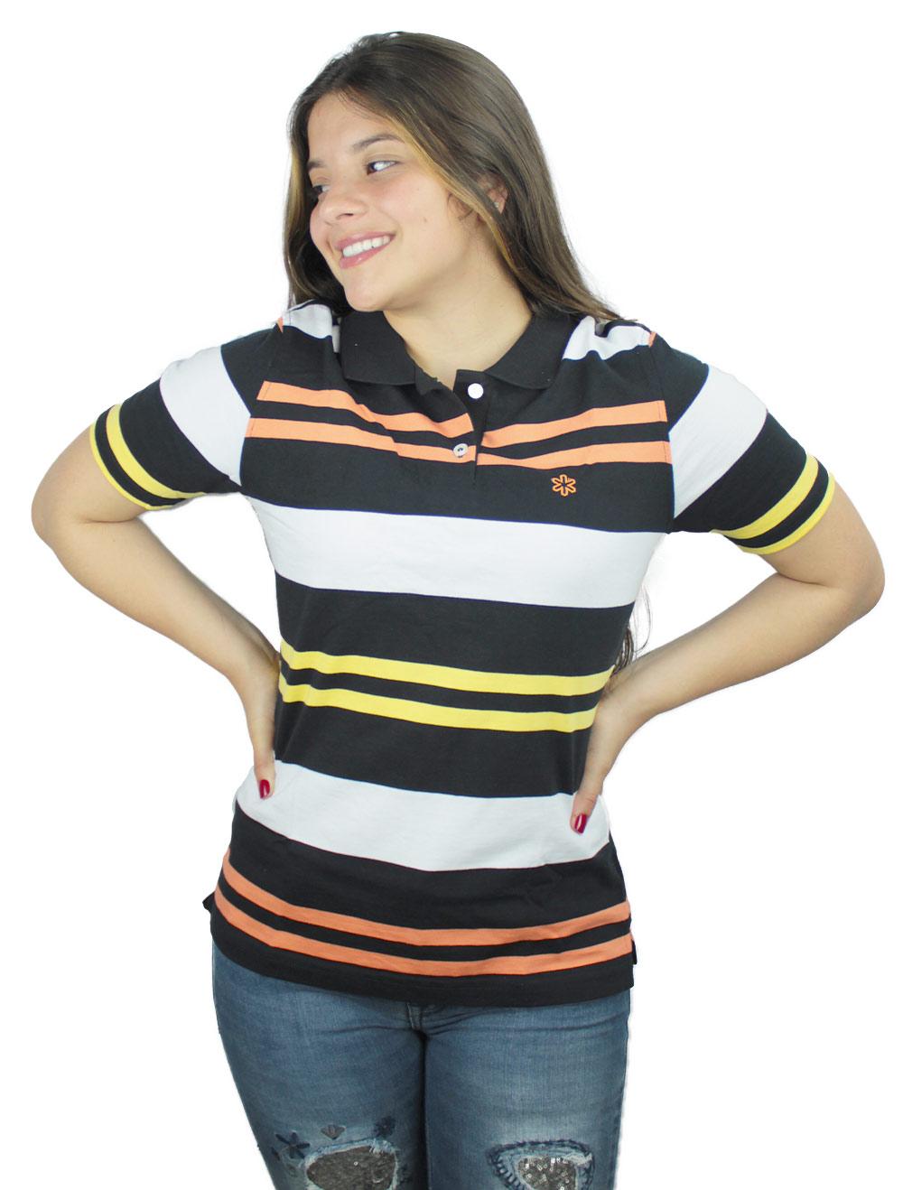 Polo Feminina Listrada Laranja e Amarelo Bordado Laranja