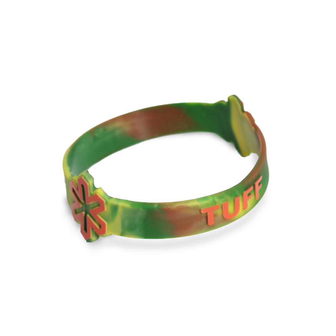 Pulseira Tie Dye Verde com Logo e Escrita Laranja L/XL