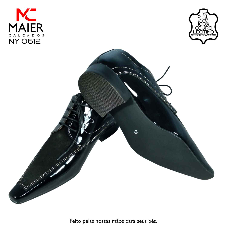 SAPATO ARTESANAL COM DISIGNE RENOMADO - feito em couro envernizado, com bico quadrado fino - BA, salto em couro 3cm e solado Laqueado