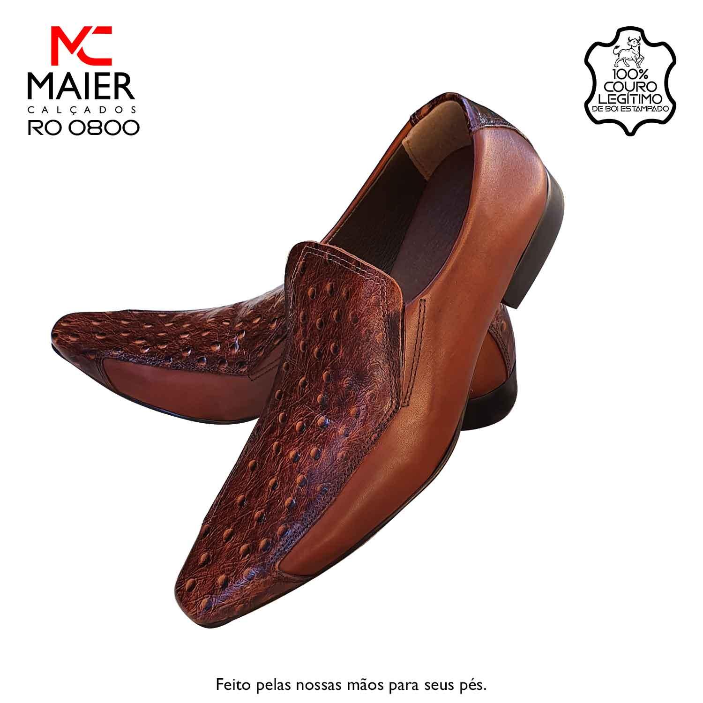 SAPATO ARTESANAL COM DISIGNE RENOMADO - feito em couro tradicional, com bico quadrado médio - BF, salto em couro 3cm e solado TR Caramelo