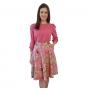 Saia Godê Midi Moda Evangélica Com Bolso e Fivela  Floral Rosa