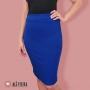 Saia Midi Lápis Lisa Azul Royal