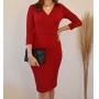 Vestido Midi Tubinho Com Recorte Moda Evangélica Vermelho