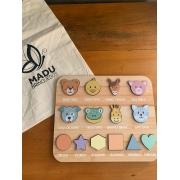 Encaixe Bichinho e Formas + Saco Personalizado - Madu Brinquedos