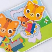 Quebra-Cabeça Progressivo Família Tigre 6 Peças - Babebi