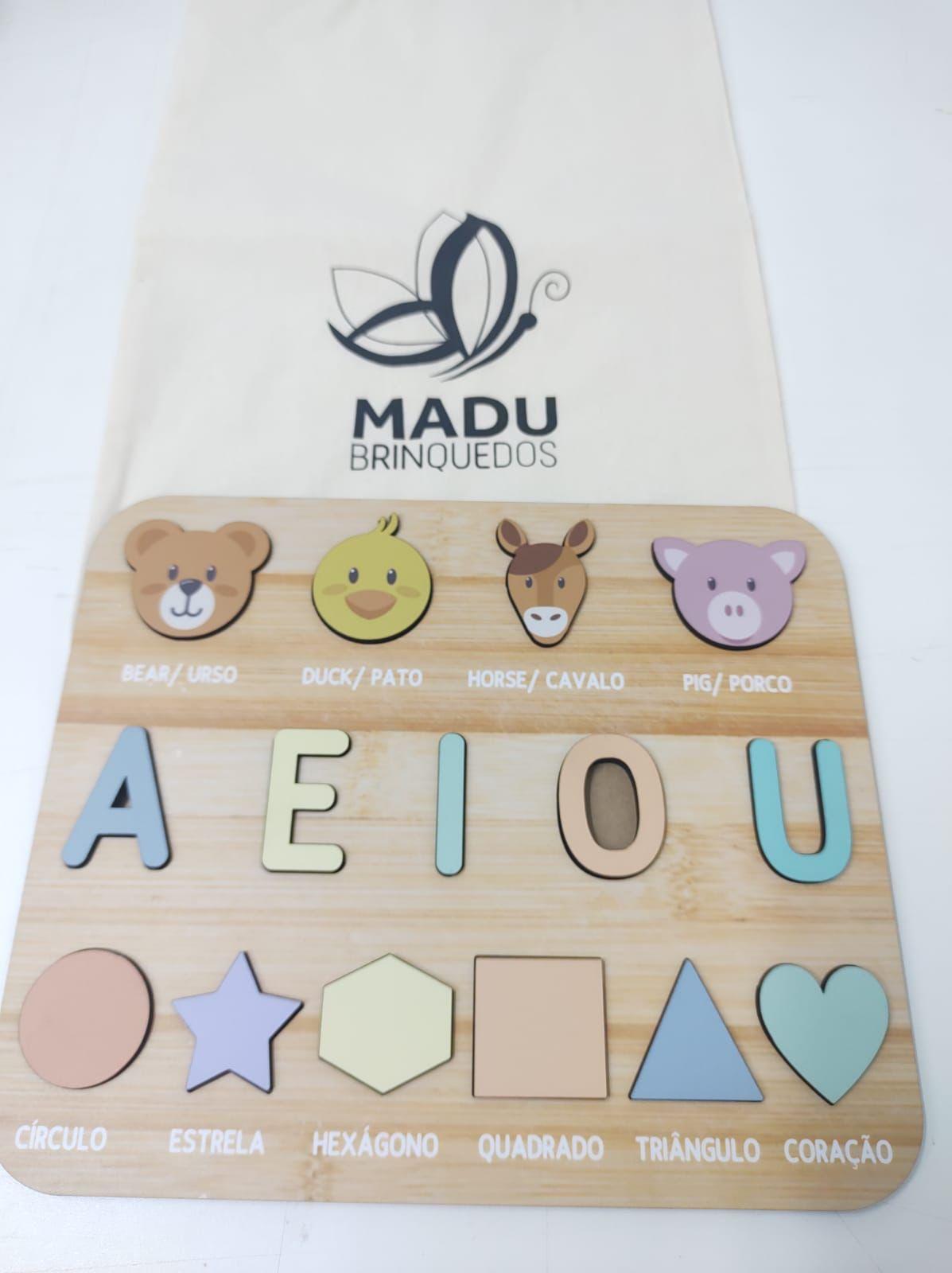 Encaixe Bichinho, Formas e Vogais + Saco Personalizado - Madu Brinquedos