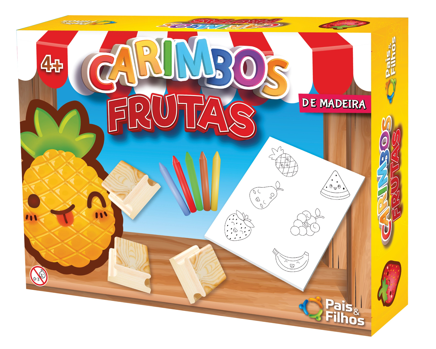 Kit de Carimbos Frutas em Madeira - Pais & Filhos
