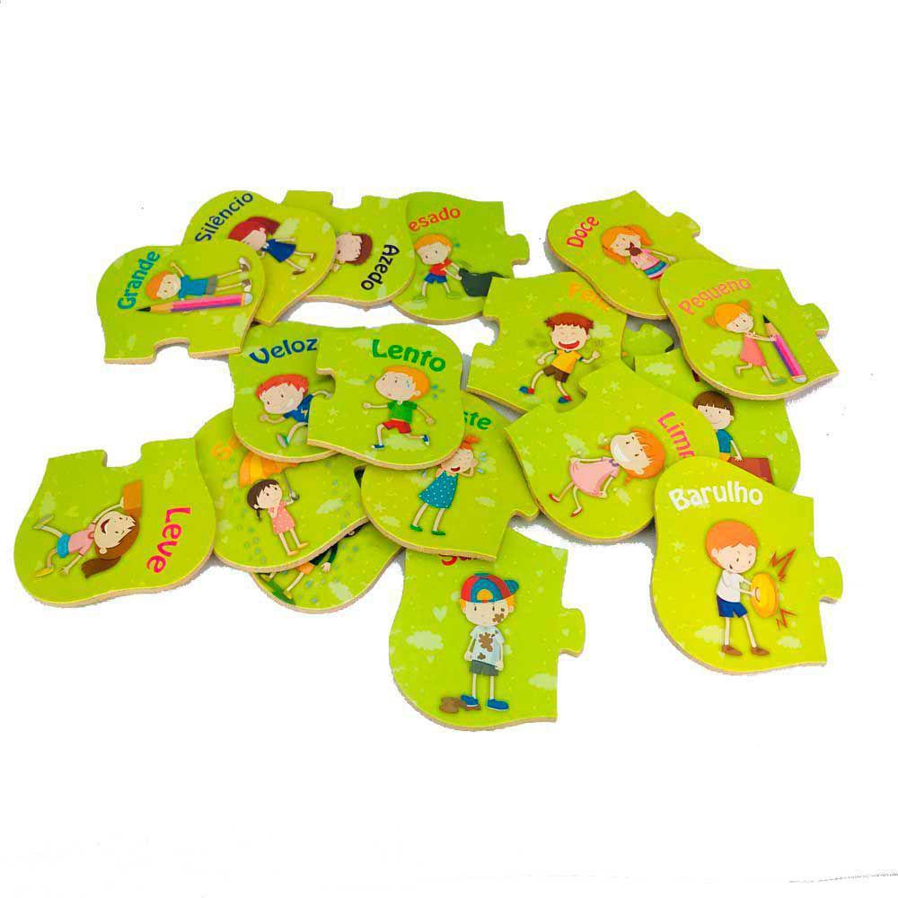 Quebra-Cabeça Aprendendo os Opostos 18 Peças - Brincadeira de Criança