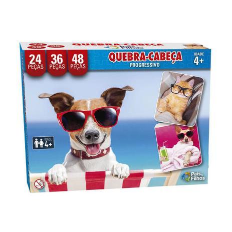 Quebra-Cabeça Pets Progressivo 30/45/56 Peças -Pais e Filhos