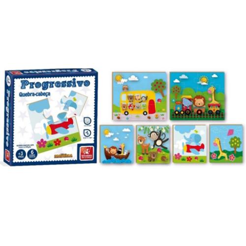 Quebra-Cabeça Progressivo Animais 12 Peças - Brincadeira de Criança