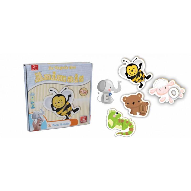 Quebra-Cabeça Vogais dos Animais 5 Peças - Brincadeira de Criança