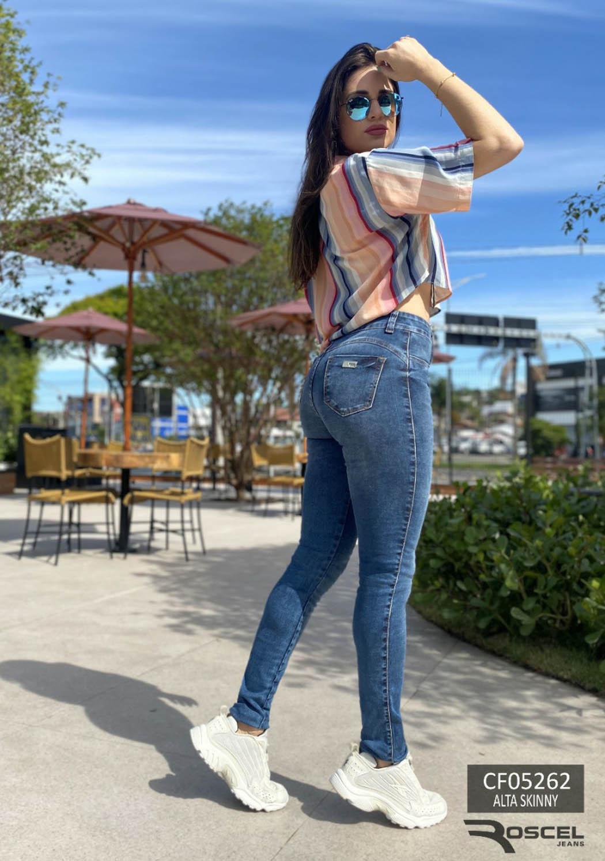 Calça Feminina Alta Skinny Basica Marcação Cotonete