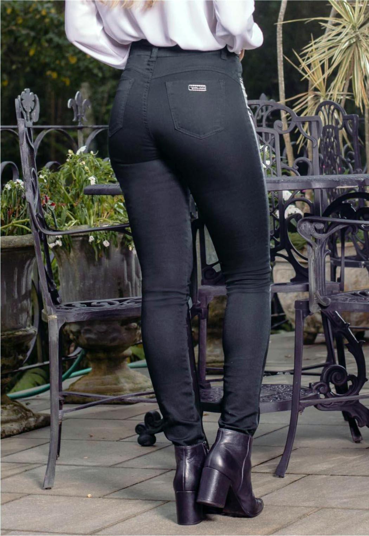 Calça Feminina Alta skinny com detalhe Couro lateral