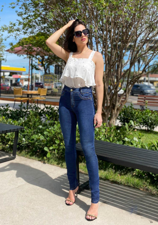 Calça Feminina Alta Skinny com detalhe Elástico algibeira
