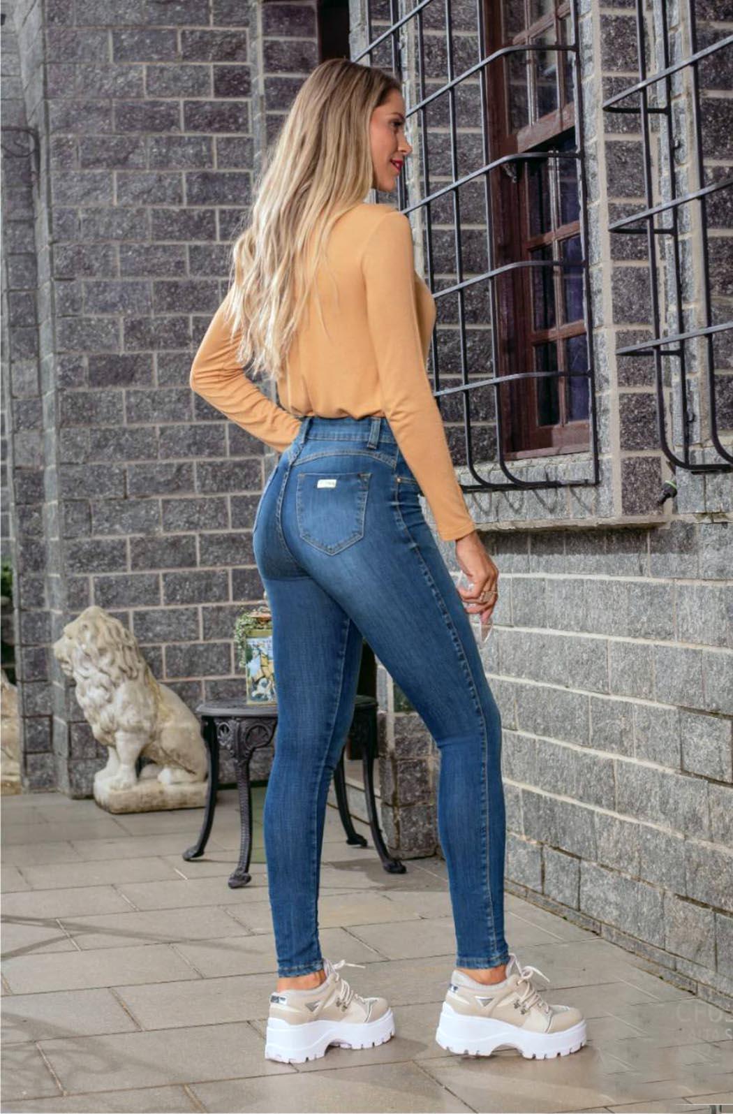 Calça Feminina Alta skinny com detalhe Pence